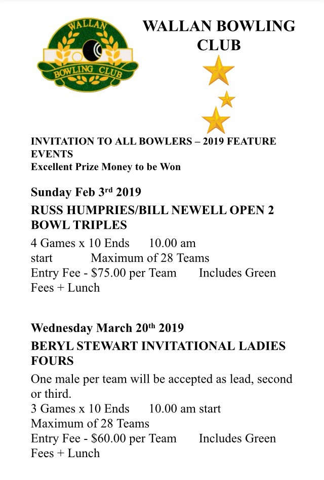 bafdd6380044 Russ Humphries Bill Newell Open 2 Bowl Triples - Central Bowls Division