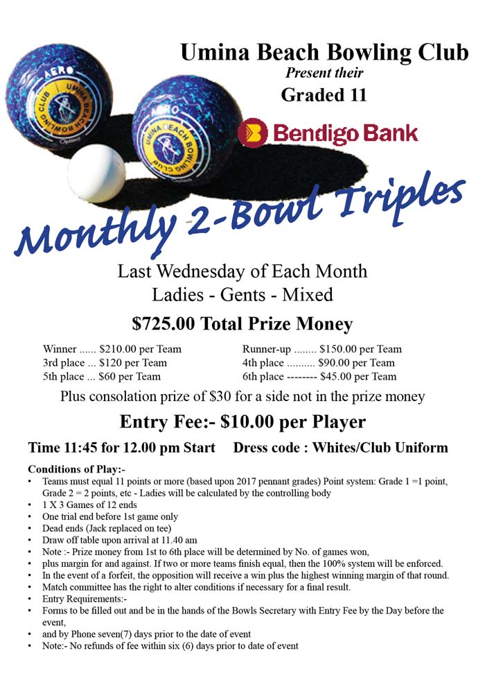 Bendigo Bank 2 Bowl Triples