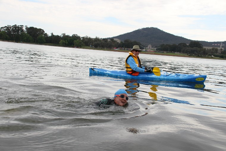Sue and Bruce in Canberra during the 2017 Sri Chinmoy National Capital swim