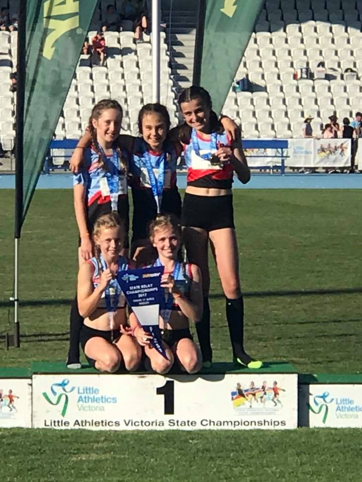 under 11 girls medley on podium.jpg