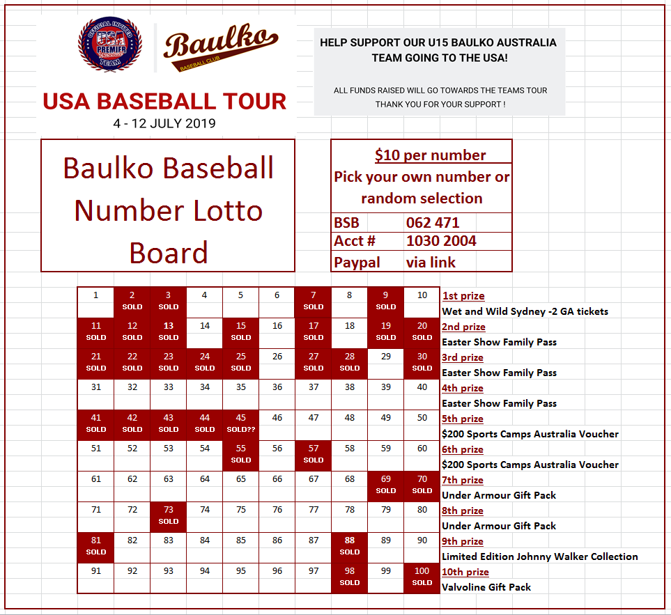 Team USA Lotto Board Fundraiser