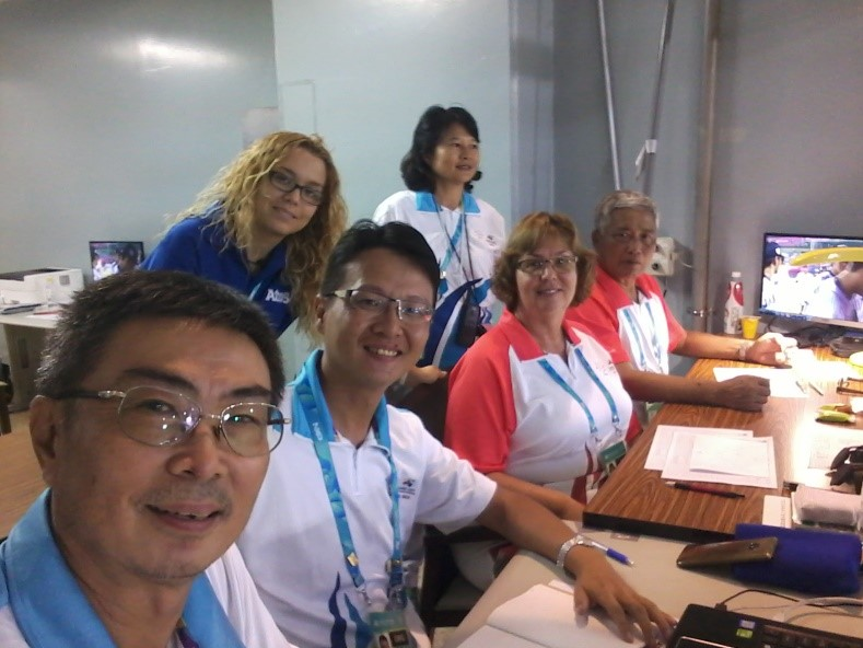 Inside the scorer's room at Tianmu Baseball Stadium with (from left) the two Taiwanese data entry scorers, one of the data entry trainers, myself and Ho, one of the Taiwanese scorers, and at the back, Jessie who assisted in transmitting information to the scoreboard operator